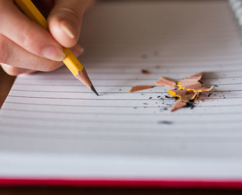 Pencil shavings on a notebook
