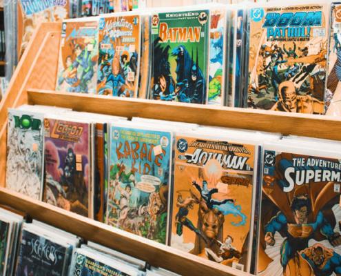 Rack of comic books