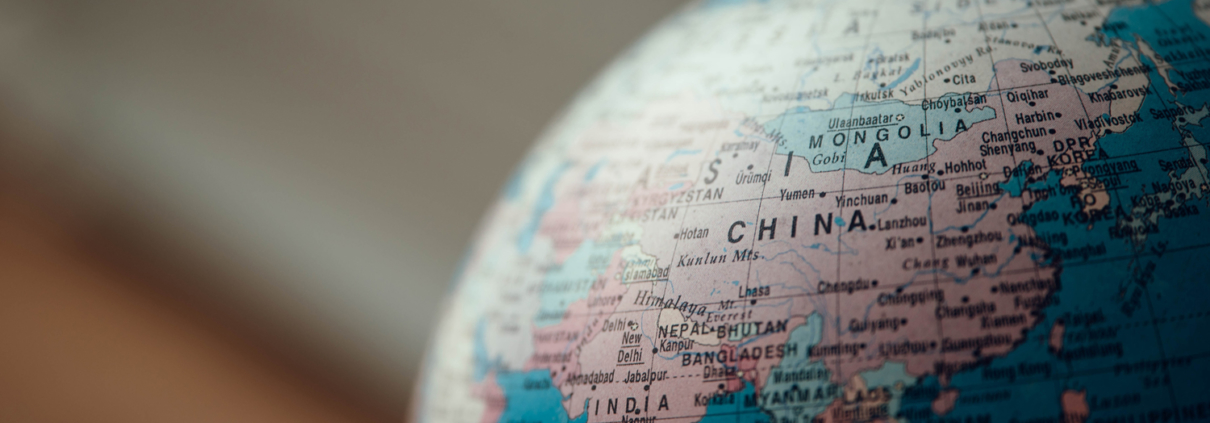 Globe with a focus on China