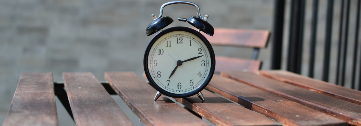 Alarm clock sitting on a table