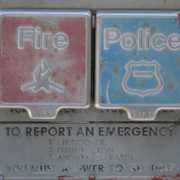 Buttons to report a fire or call police