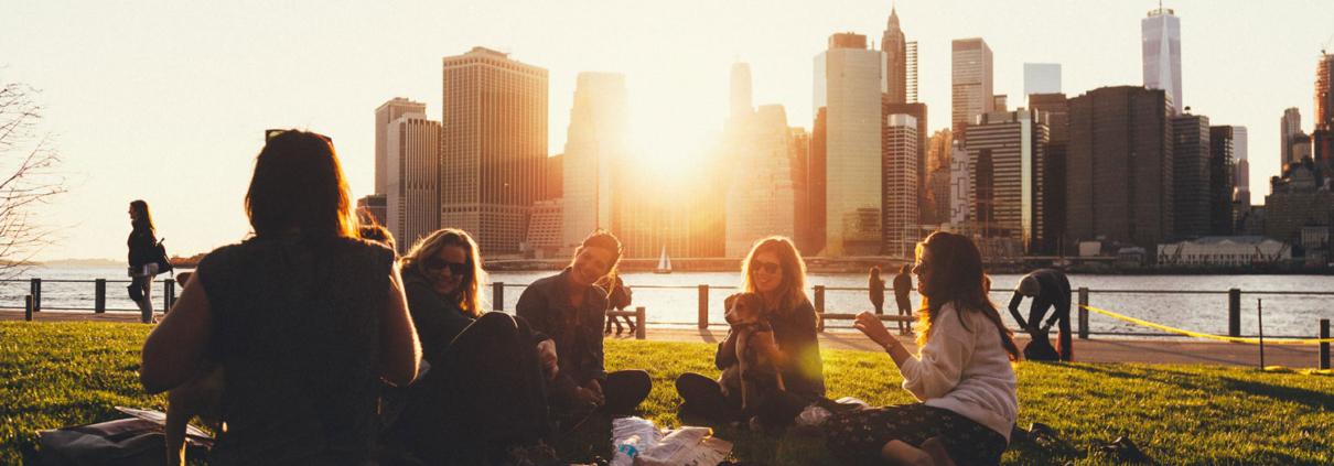 Friends enjoying a picnic in a New York park