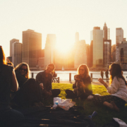 Friends enjoying a picnic in a New York park