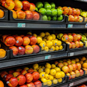 Citrus fruit in a grocery aisle