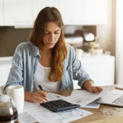 Woman doing taxes