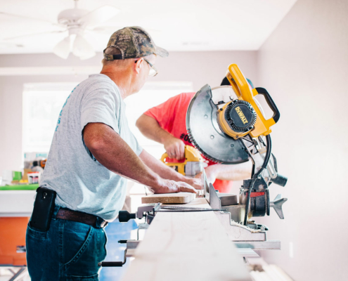 contractors working on a house